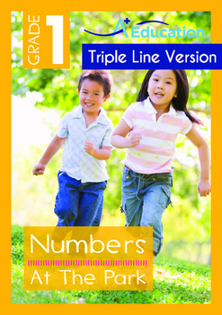 Numbers - At The Park (I) - Grade 1 (with 'Triple-Track Writing Lines')