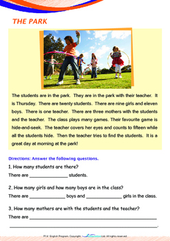 Numbers - At The Park (II) - Grade 1 (with 'Triple-Track Writing Lines')