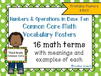 Numbers & Operations in Base Ten Common Core Vocabulary Posters- Grade 3