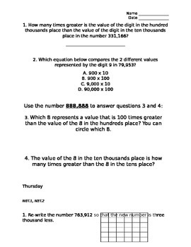 Numbers Base Ten Math Practice