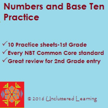 Numbers & Base Ten - 10 Practice Sheets for 1st Grade
