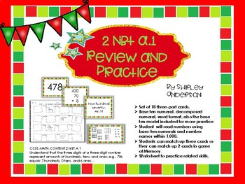Numbers Base Ten Practice and Review (Christmas Theme)