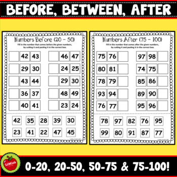 Numbers Before, Between And After (0-100, Cut And Paste)