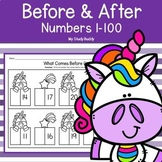 Before and After Numbers 1-100 (One More One Less Worksheets)