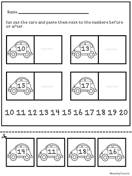 Numbers Before and After 1-100 | Matching Game and Worksheets