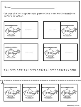 Numbers Before and After 80-150 | Matching Game and Worksheets