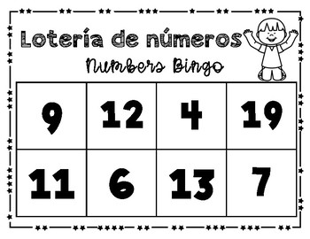Numbers Bingo 0-20 in English and Spanish