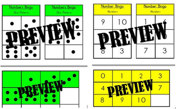 Numbers Bingo Boards