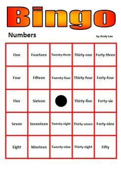 Numbers Bingo in Words (with Powerpoint Calling)