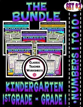 Numbers Bundle - Numbers 1 to 10 - Set 2 - Kindergarten 1st Grade (Grade 1)