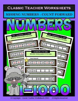 Numbers Bundle - Numbers 1 to 1000 - Set 1 - 3rd-4th Grade (Grades 3-4)
