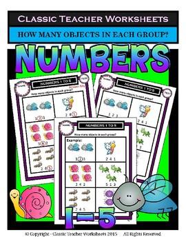Numbers Bundle - Numbers 1 to 5 - Set 1 - Kindergarten 1st Grade (Grade 1)