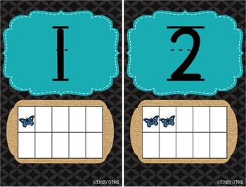 Numbers (Butterfly, Blue, Black & Burlap Theme)