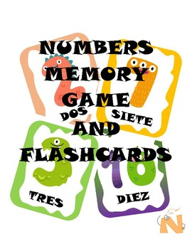 Numbers Cards Monters Theme in Spanish (1-20)