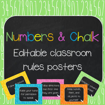 Numbers & Chalk- Editable Classroom Rules Poster Set