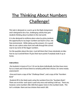 Numbers Challenge and Place Value (Digit) Activity