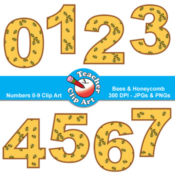 Numbers Clip Art (Bees & Honeycomb) — Numbers 0-9