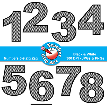 Numbers Clip Art (Black & White Zig Zags) — Numbers 0-9
