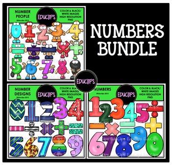 Numbers Clip Art Bundle {Educlips Clipart}