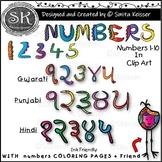 Numbers Clip Art,  Cool Numbers, English, Gujarati, Hindi and Punjabi.