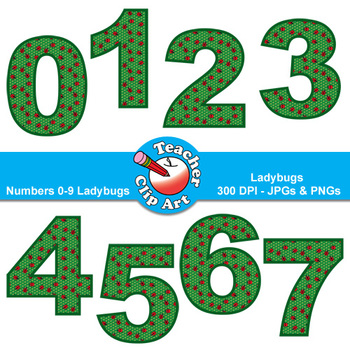 Numbers Clip Art (Ladybugs) — Numbers 0-9