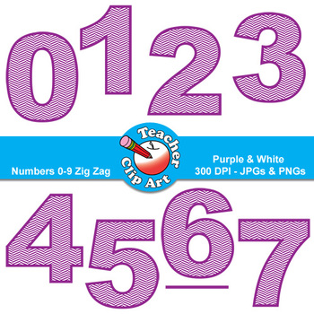 Numbers Clip Art (Purple & White Zig Zags) — Numbers 0-9