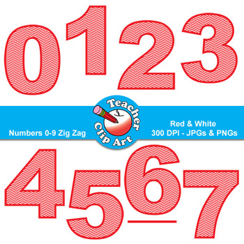 Numbers Clip Art (Red & White Zig Zags) — Numbers 0-9