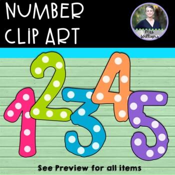 Number Clipart - 0-9 300 dpi Stripes/Stars/Polka Dots
