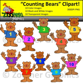 Numbers Clipart - Counting Bears