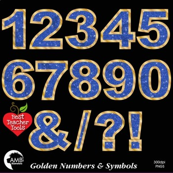 Numbers Clipart, Glittering Blue and Gold  Numbers and Symbols Clipart, AMB-2235