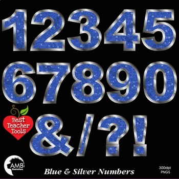 Numbers Clipart, Glittering Blue and Silver, Symbols Clipart, AMB-2241