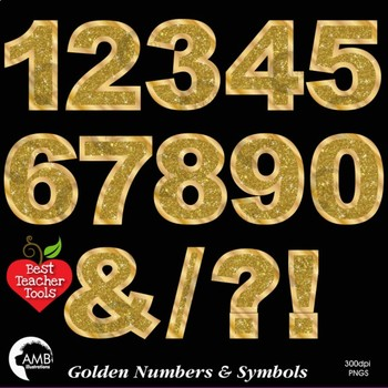 Numbers Clipart, Glittering Gold Bokeh Numbers and Symbols Clipart, AMB-2233