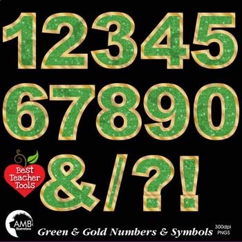Numbers Clipart, Glittering Green and Gold, Symbols Clipart, AMB-2239