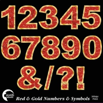 Numbers Clipart, Glittering Red and Gold  Numbers and Symbols Clipart, AMB-2238