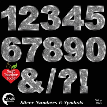 Numbers Clipart, Glittering Silver Numbers and Symbols Clipart, AMB-2239