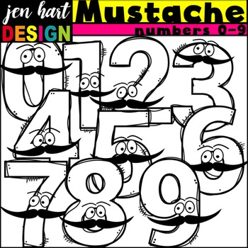 Numbers Clipart {Mustaches}
