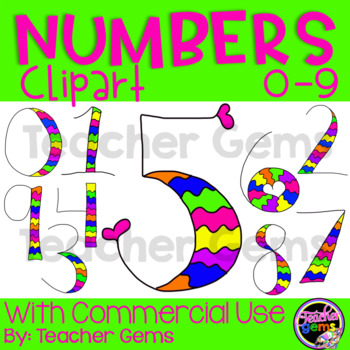 numbers clipart in fun colors by teacher gems teachers pay teachers rh teacherspayteachers com Math Clip Art for Teachers Cute Clip Art for Teachers