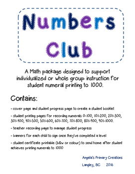 Numbers Club- a math package for printing numerals to 1000