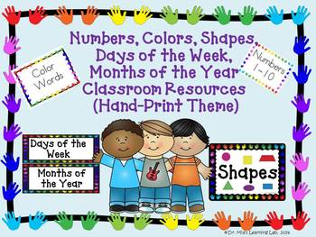 Numbers, Colors, Shapes, Days, & Months Wall Resources (Handprint Theme)