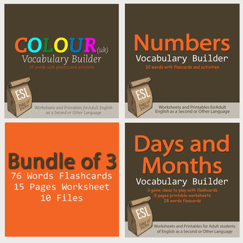 Numbers, Colours (UK) and Days and Months Vocabulary Build