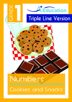 Numbers - Cookies and Snacks (I) - Grade 1 (with 'Triple-Track Writing Lines')