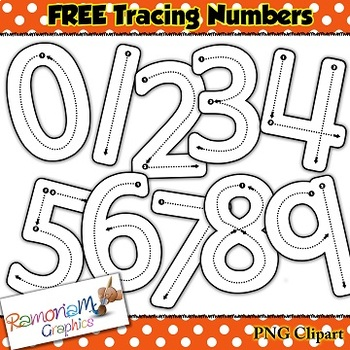Tracing numbers - Correct formation clip art
