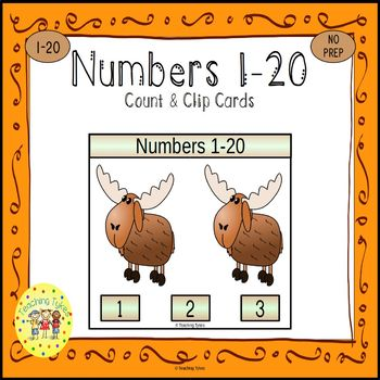 Numbers 1-20 Clip Task Cards