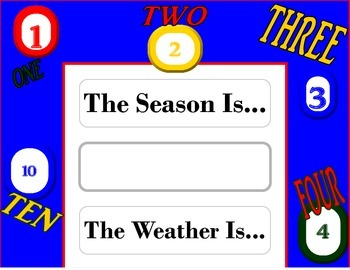 Numbers Counting Weather Chart! Number Bulletin Board! Cou