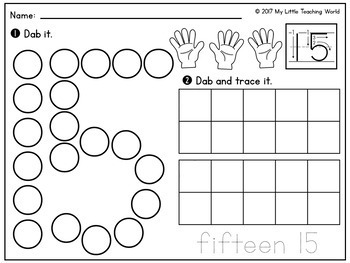 Numbers 0-20 Dab & Trace Worksheets by My Little Teaching World | TpT