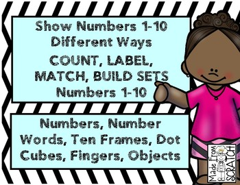 Numbers Different Ways 1-10 - Fingers, Words, Dot Cubes, Sets and Ten Frames