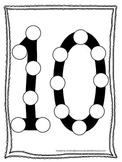 "Numbers Do a Dot number ""10"". Printable preschool daycare worksheet."