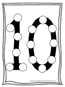 "Numbers Do a Dot number ""10"". Printable preschool daycare"