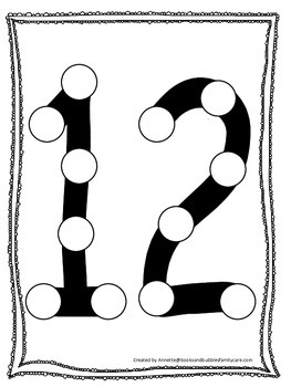 "Numbers Do a Dot number ""12"". Printable preschool daycare worksheet."