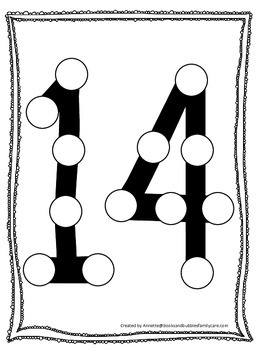 "Numbers Do a Dot number ""14"". Printable preschool daycare worksheet."